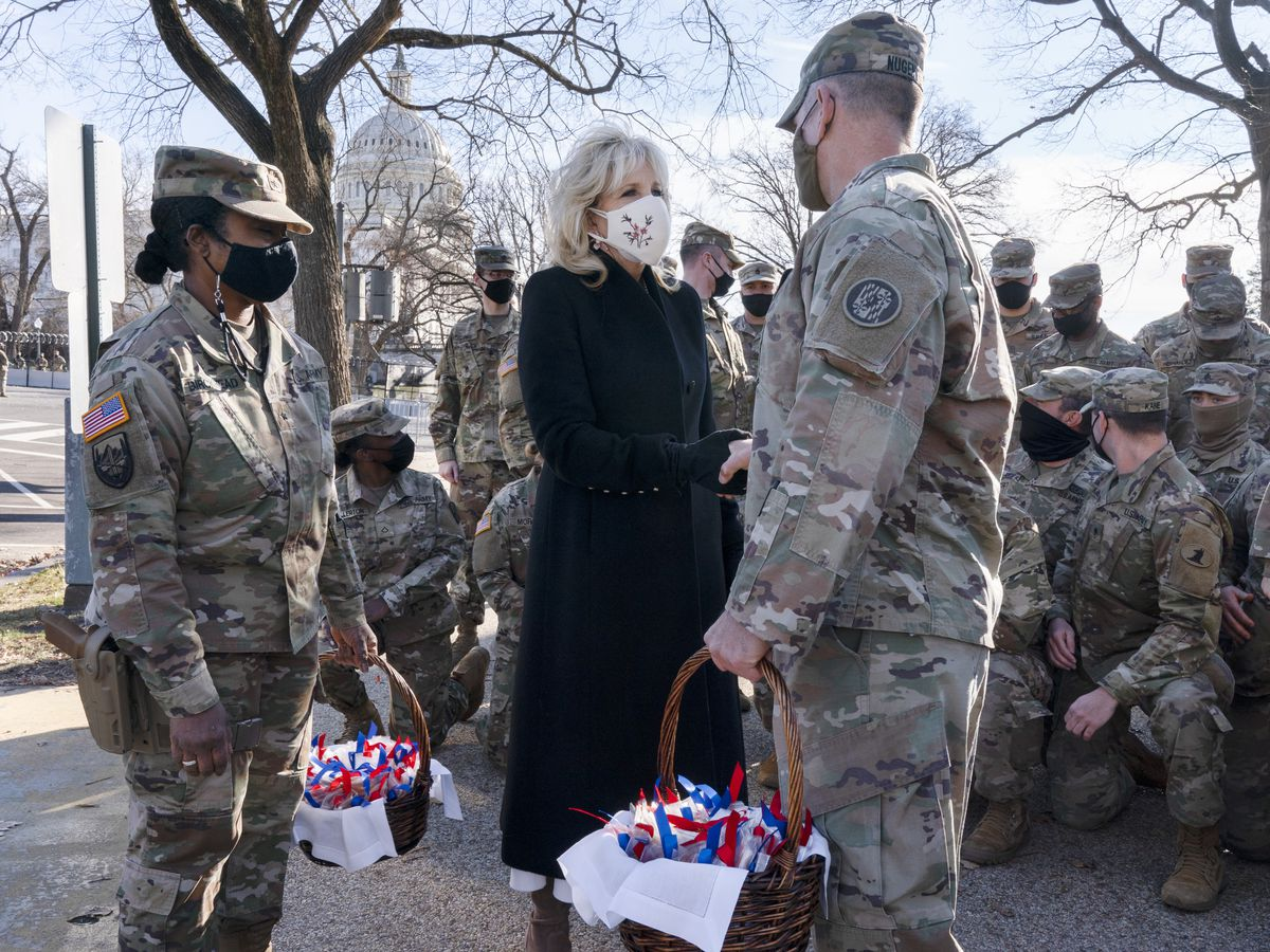 Jill Biden thanks Guard members with chocolate chip cookies