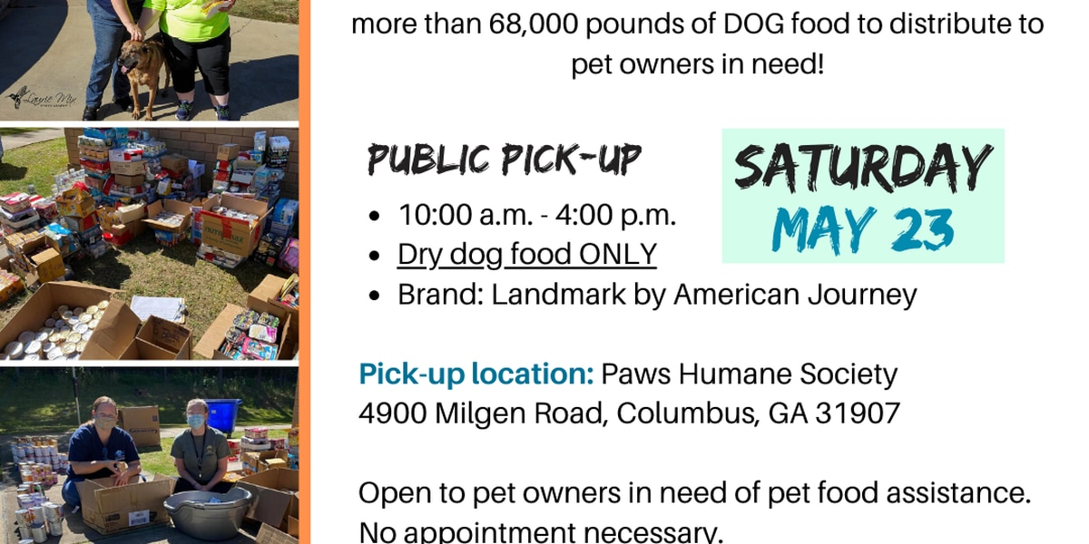 Paws Humane Society to hold second pet food distribution for Chattahoochee Valley