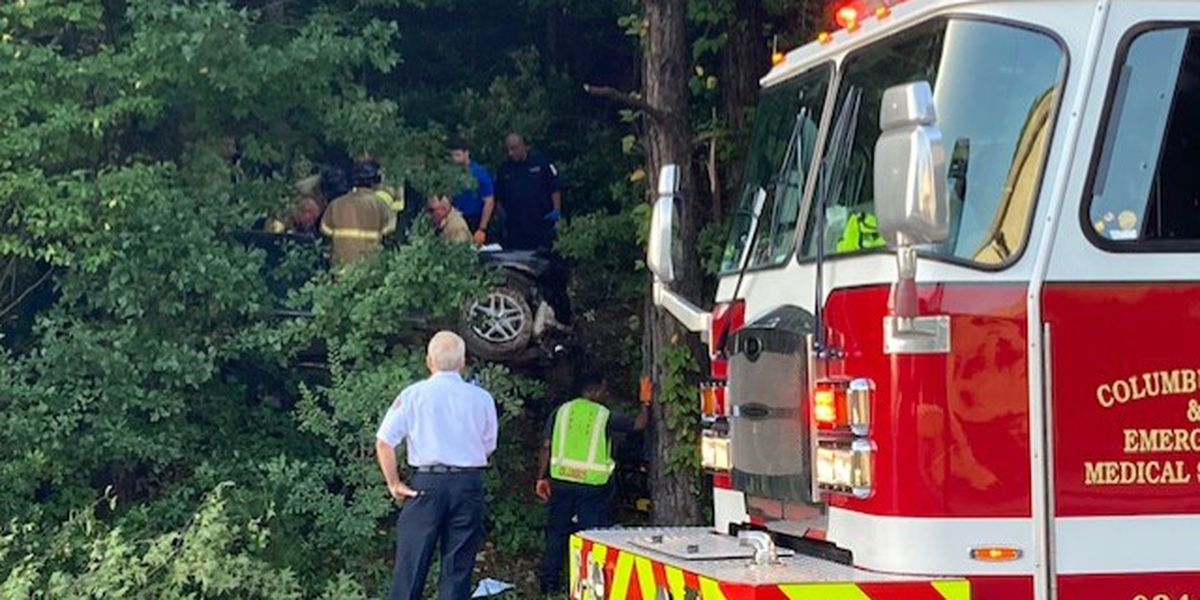 Car nearly hidden in woods after single vehicle crash on J.R. Allen Pkwy.