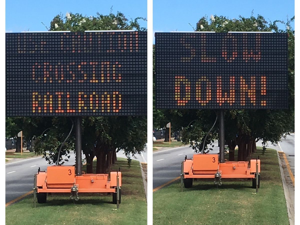 UPDATE: Signs go up to alert drivers about potholes at Veterans Pkwy. and 9th St. in Columbus