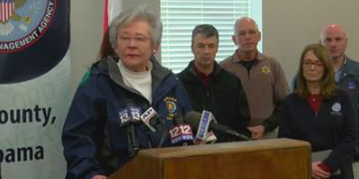 AL Governor Kay Ivey tours tornado damage in Beauregard
