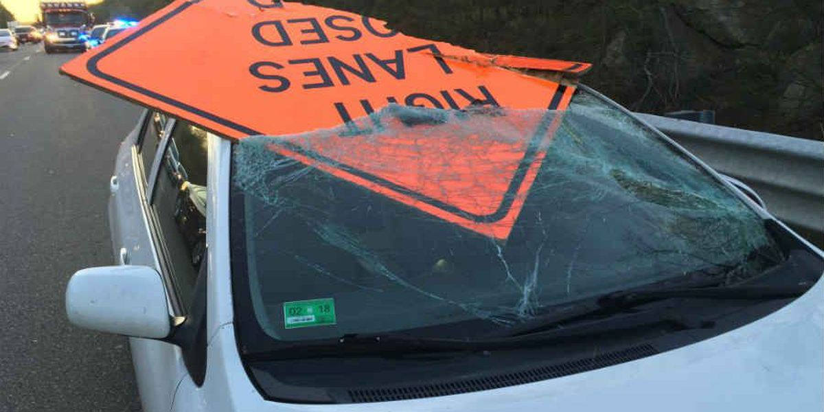 RI man survives crash after sign goes through windshield