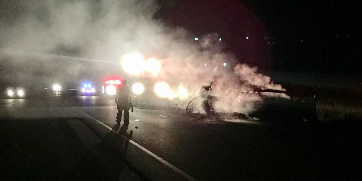 Car fire in Pine Mountain halts traffic on I-185