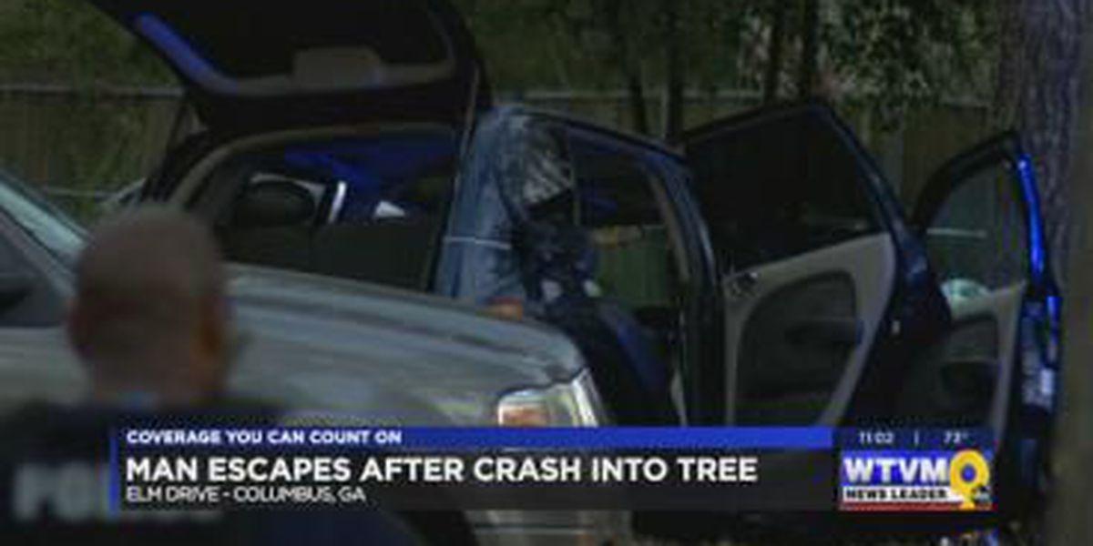 Man escapes capture after crash Saturday evening