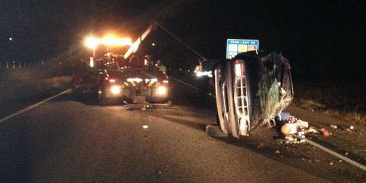 2-car accident on I-85 in Opelika overturns vehicle Friday
