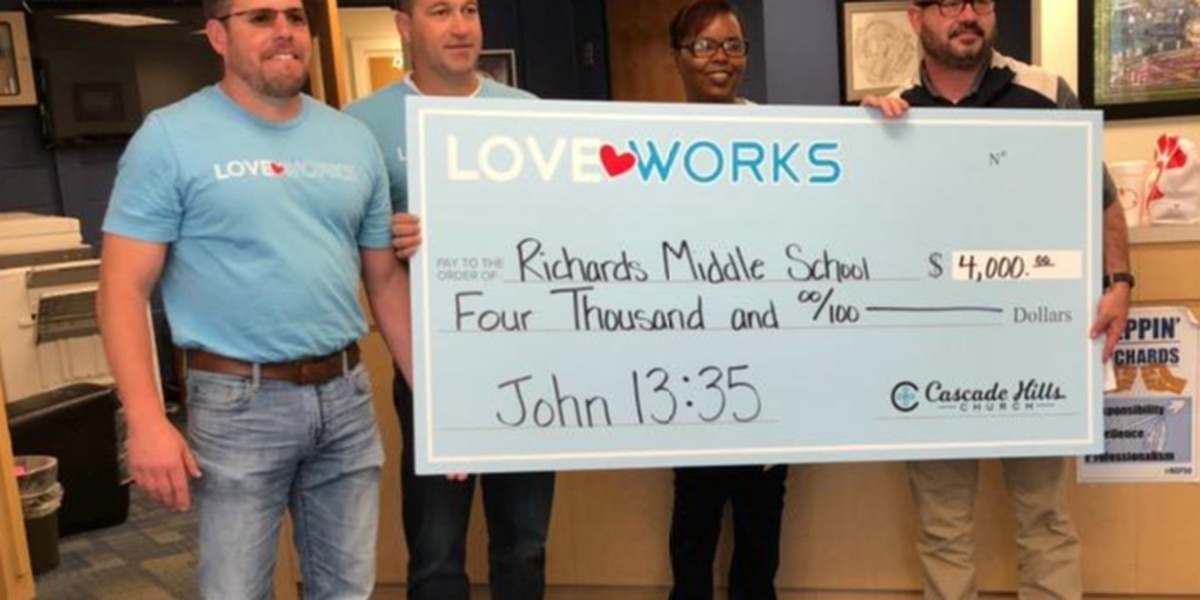 Cascade Hills Church continues Love Week with $4K donation to Richards Middle School