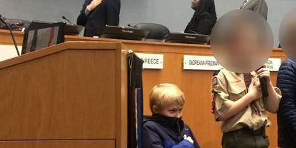Boy, 10, takes knee during pledge of allegiance at NC city council meeting