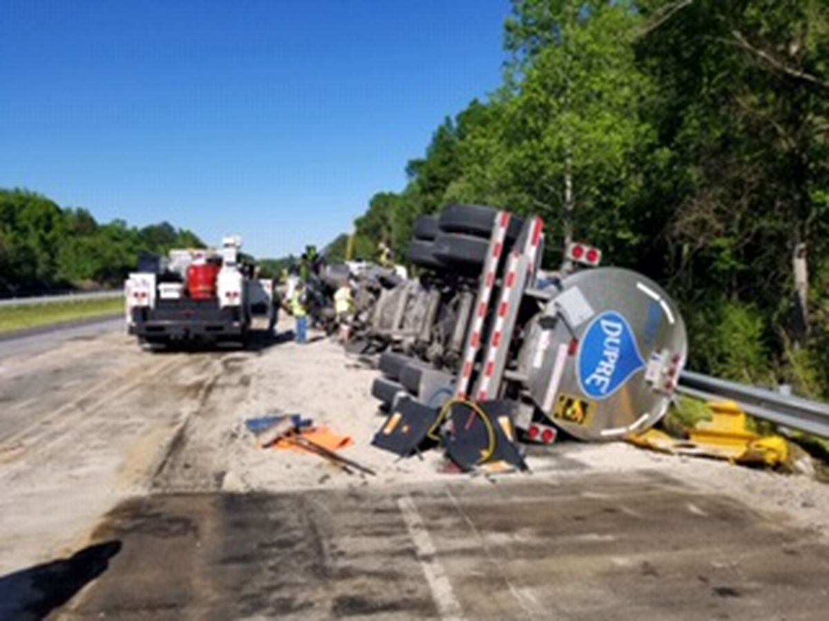 Multiple accidents, overturned tanker cause massive delays on I 85 in Macon County