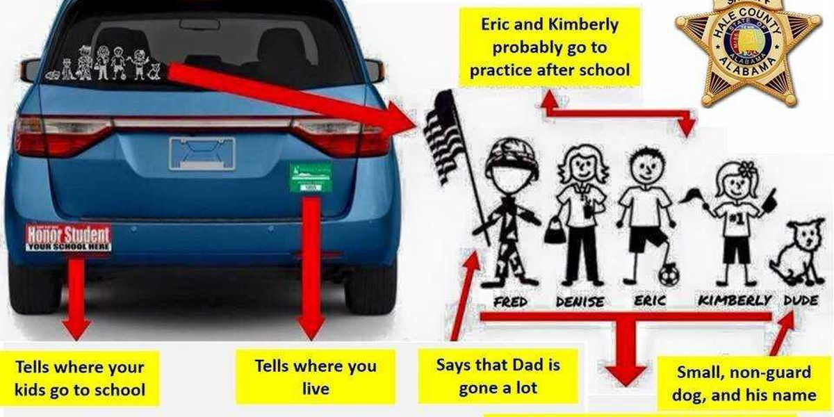 Police: Don't give out too much information on bumper stickers