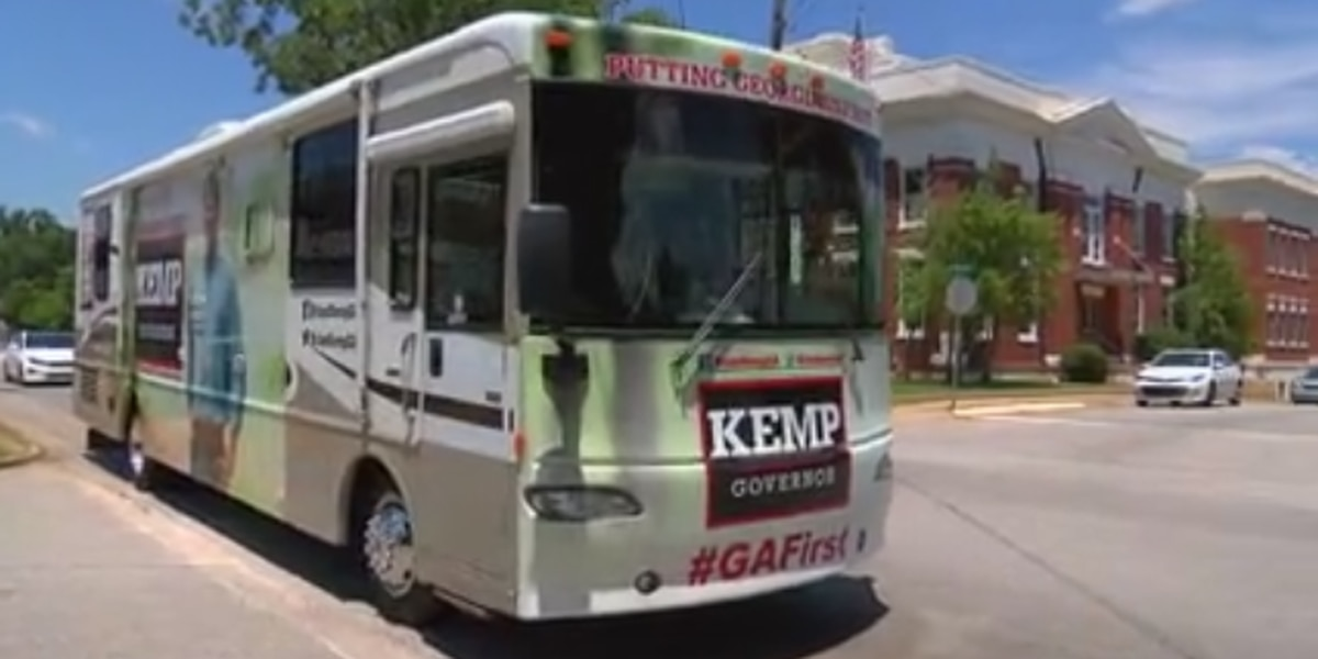 Brian Kemp making his way to Columbus ahead of the election