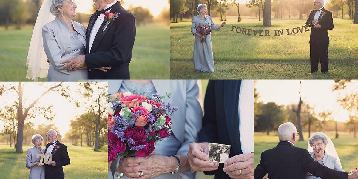 PHOTOS: Louisiana couple takes wedding photos 70 years after their 'I do's'