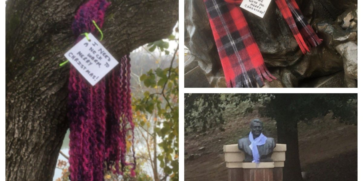 People spread compassion by placing scarves in Uptown Columbus for those in need