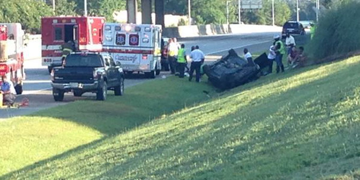 TRAFFIC ALERT: Heavy traffic on I-185 after car flips over