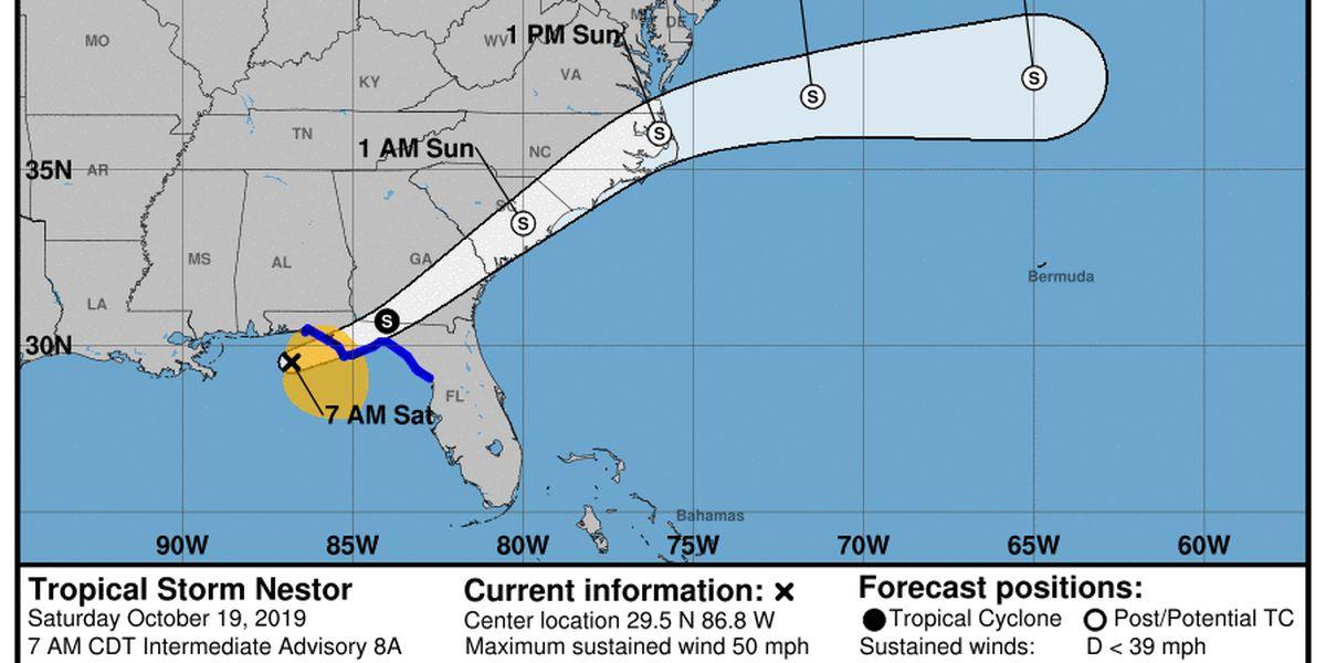 Nestor heads into Georgia after tornadoes damage Florida