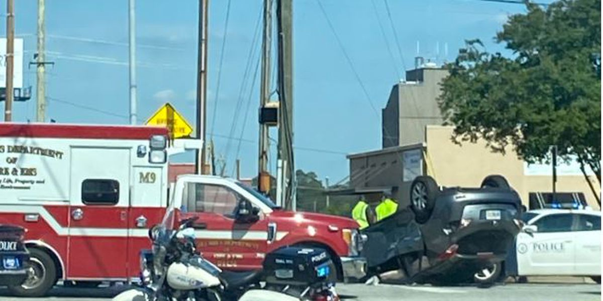 Emergency crews working accident in Columbus