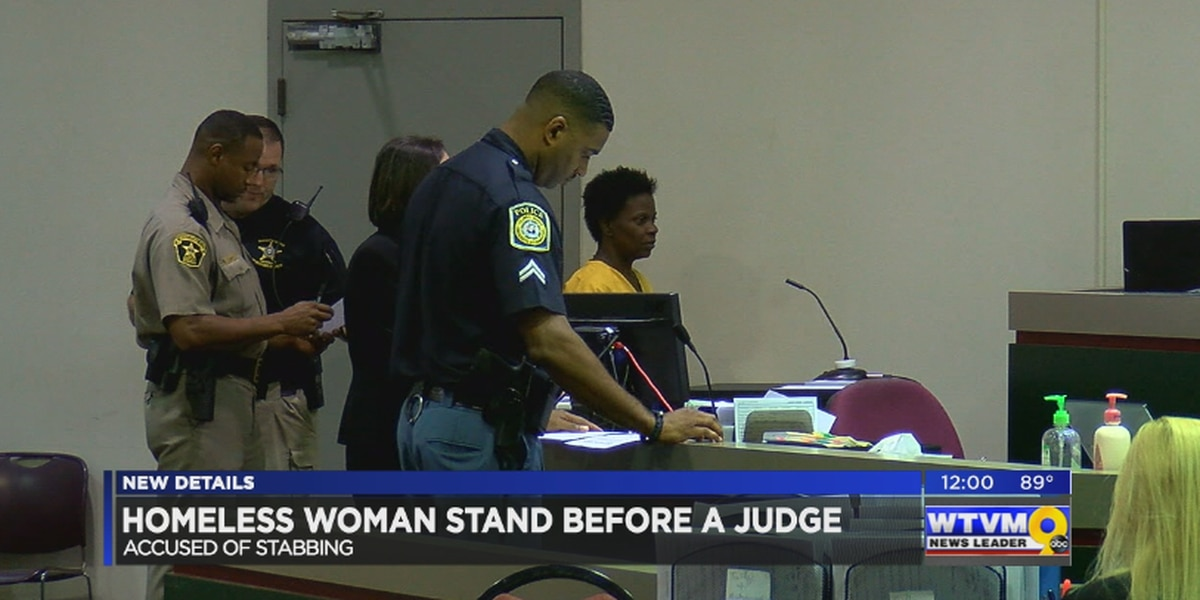 Homeless woman accused of stabbing appears in court