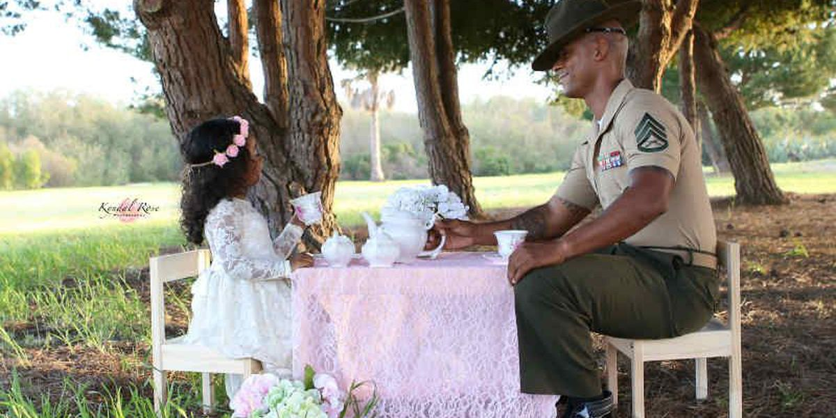 SLIDESHOW: Photographer captures U.S. Marine, daughter in tea party photo shoot
