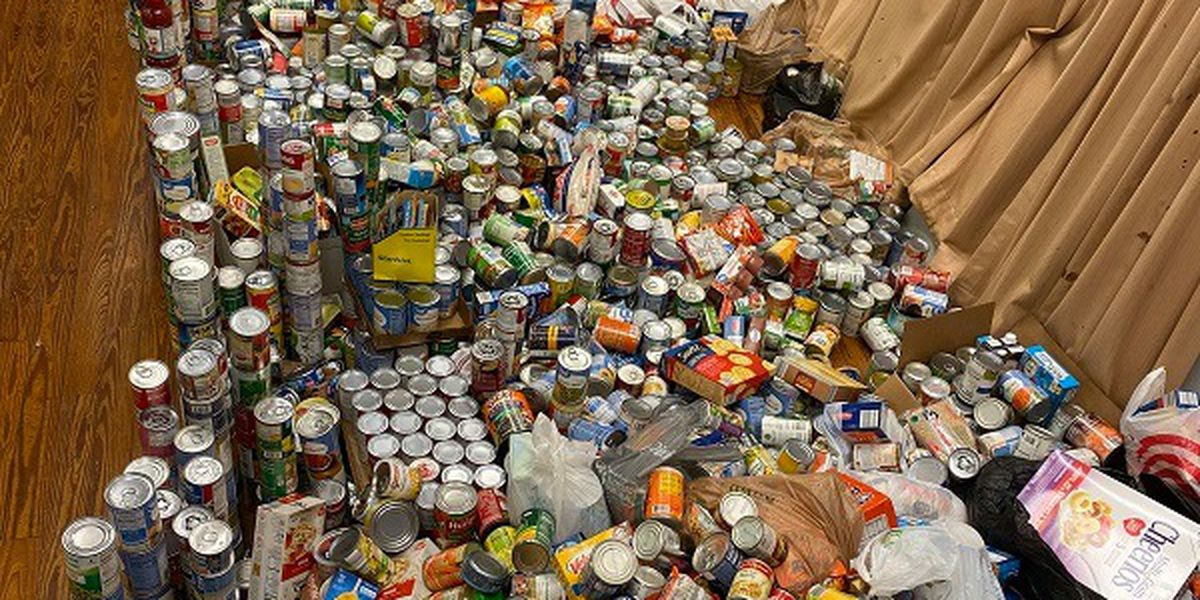 Mathews Elementary School collects over 4,000 canned goods for non-profits