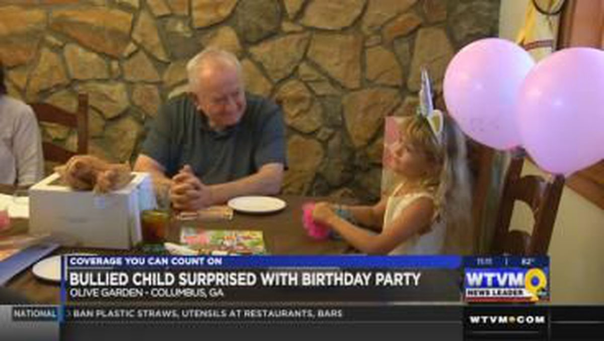 Olive Garden gives a birthday surprise to a 6 year old who was bullied