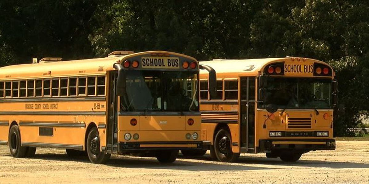 Muscogee Co. school bus slides off the road into muddy area; no injuries reported
