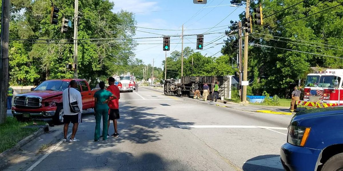 Truck overturned at the intersection of Forrest and Avalon Rd. in Columbus