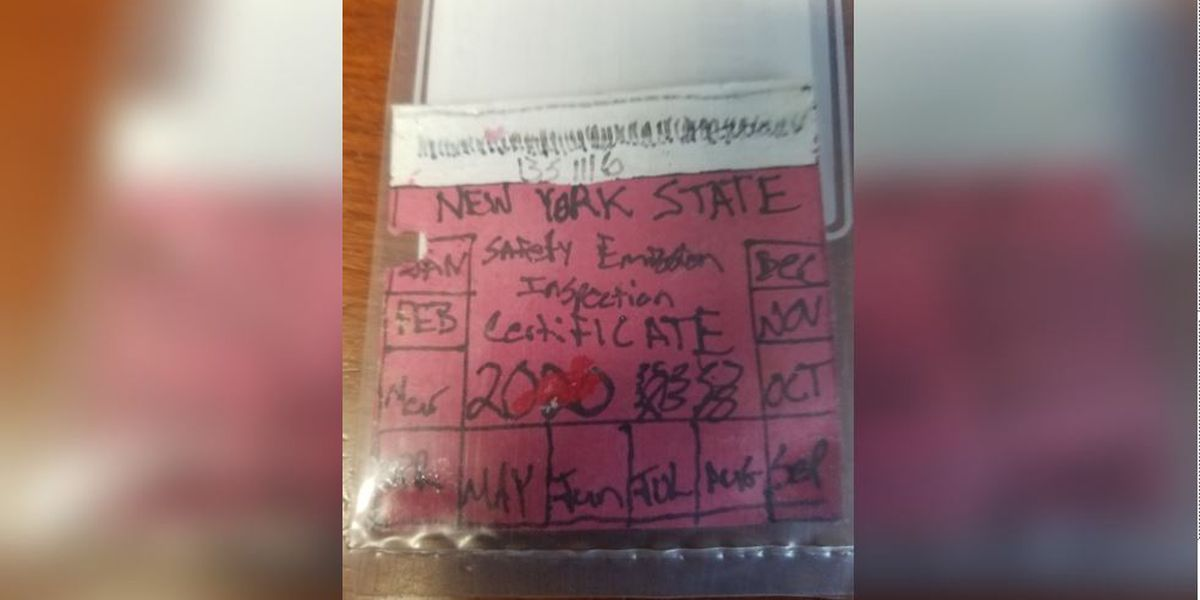 Police say 'nice try' after man gets caught with hand-drawn inspection sticker for car