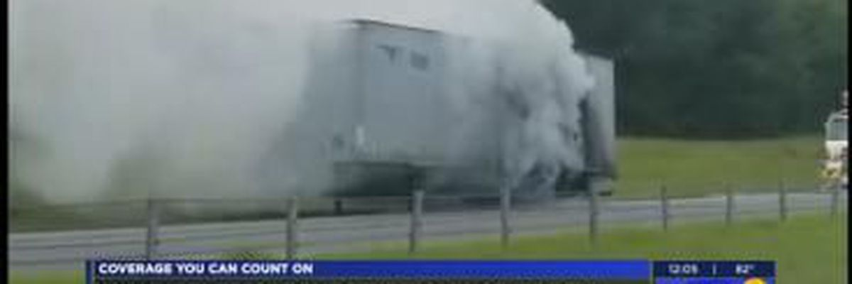 18-wheeler trailer catches fire in AL; no injures reported