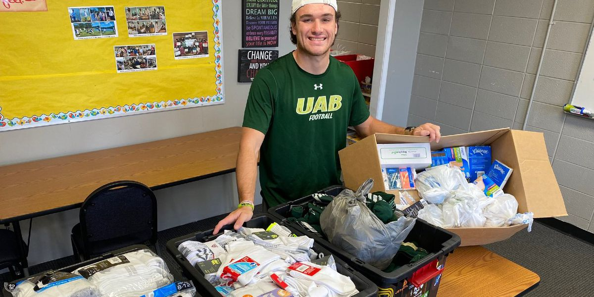 UAB kicker gathers hundreds of supplies for hurricane victims