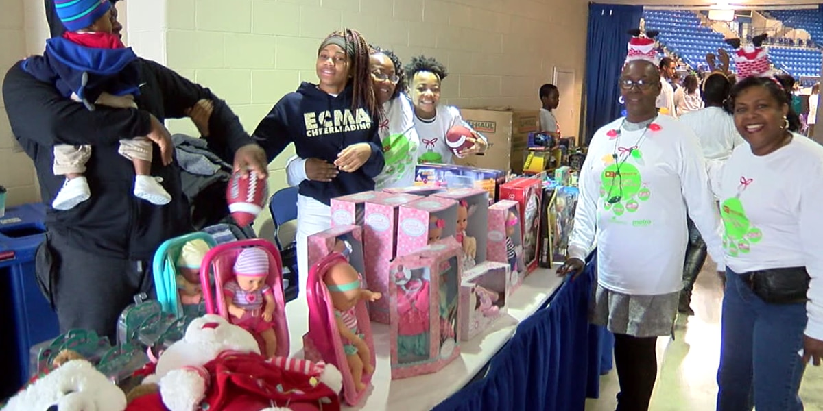 Excited crowds gather for the 33rd annual Davis Broadcasting Toy giveaway