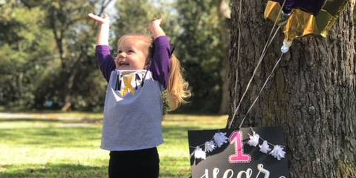 Photo shows toddler celebrating being cancer-free