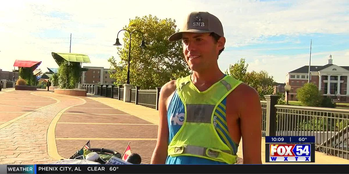 Man running across the U.S. makes a stop in Columbus