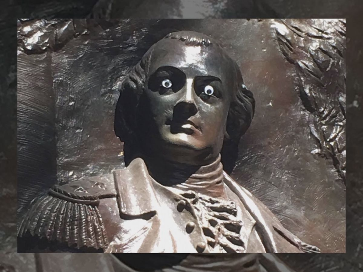 Tourists, locals react to googly eyes on Nathaniel Greene statue