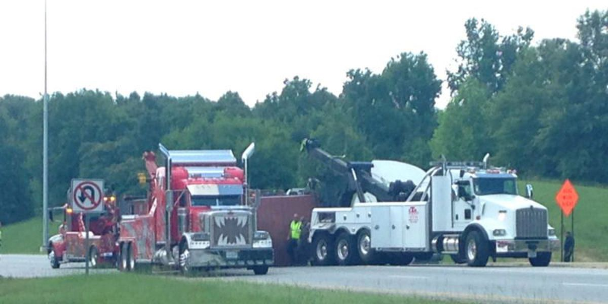 18 wheeler flips over trying to turn on to JR Allen