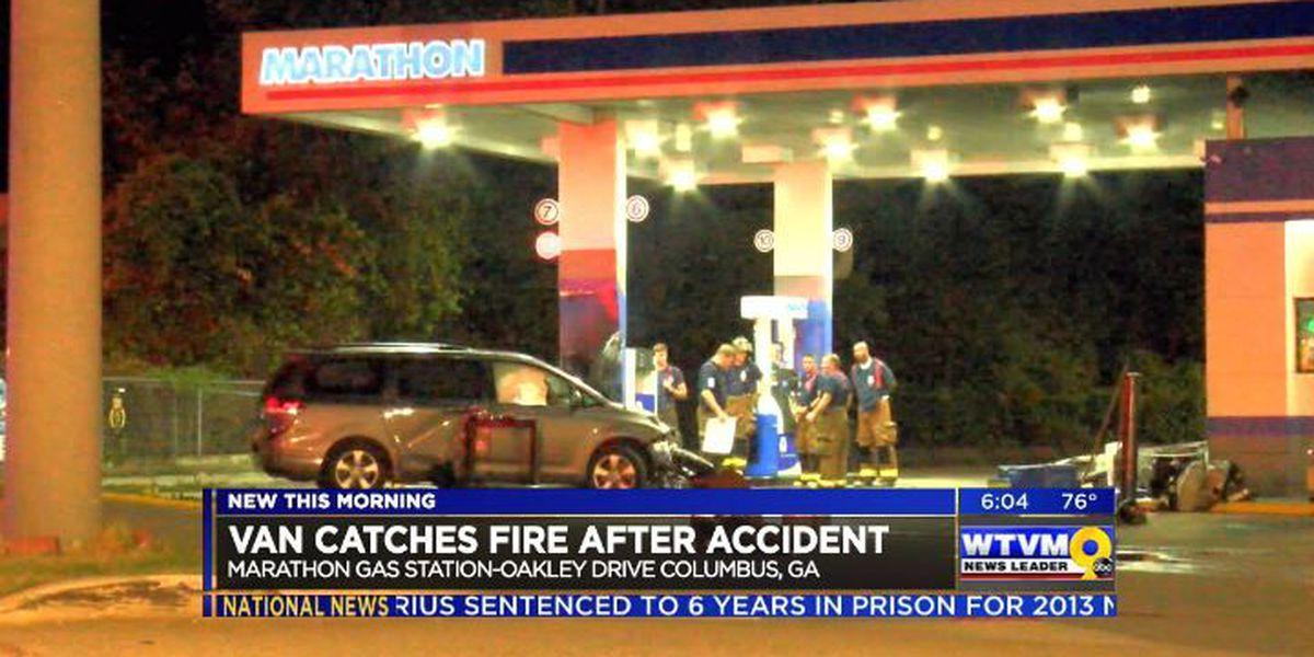 No injuries after van crashes into gas pump