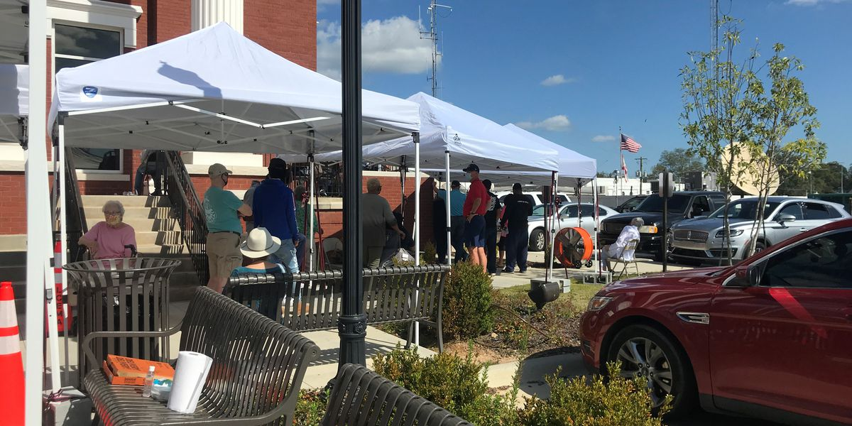 Lee Co. voters wait in long lines to cast absentee ballots