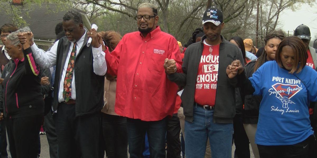 Prayer walk held to raise awareness for gun violence