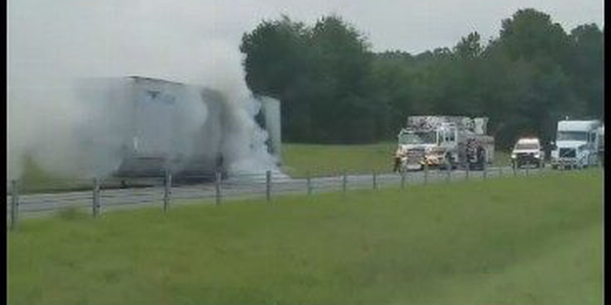 VIDEO: 18-wheeler trailer catches fire in AL; no injures reported