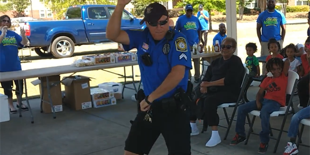 Columbus police officer shows off dance moves for crime prevention