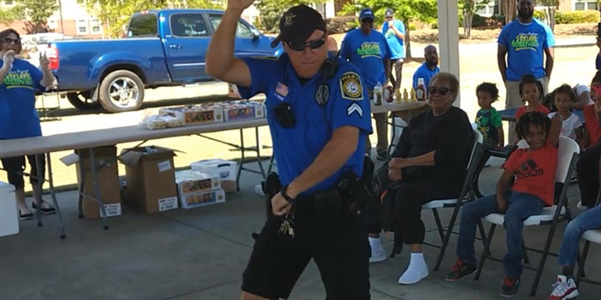 Columbus police officer shows off dance moves for crime prevention