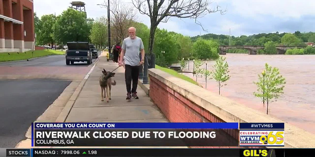 Overnight thunderstorms in the Chattahoochee Valley cause flooding at the Riverwalk