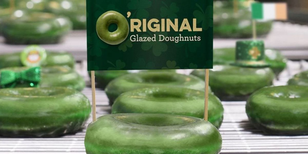 Krispy Kreme's Original Glazed doughnut goes green for St. Patrick's Day