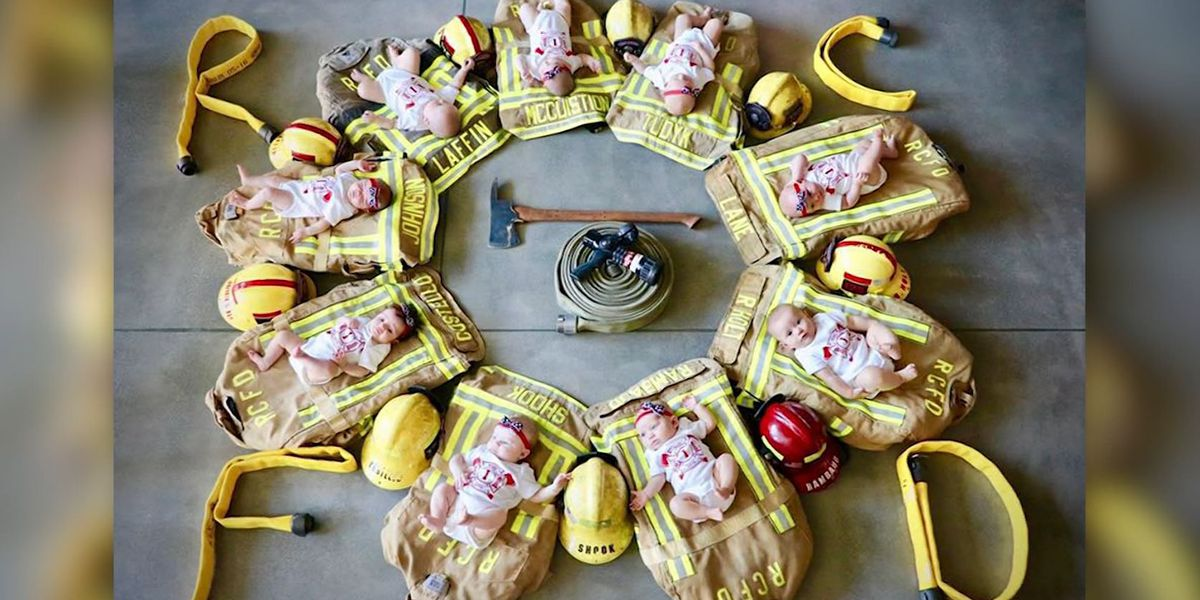 Fire department celebrates 9 newborns with photoshoot in Calif.