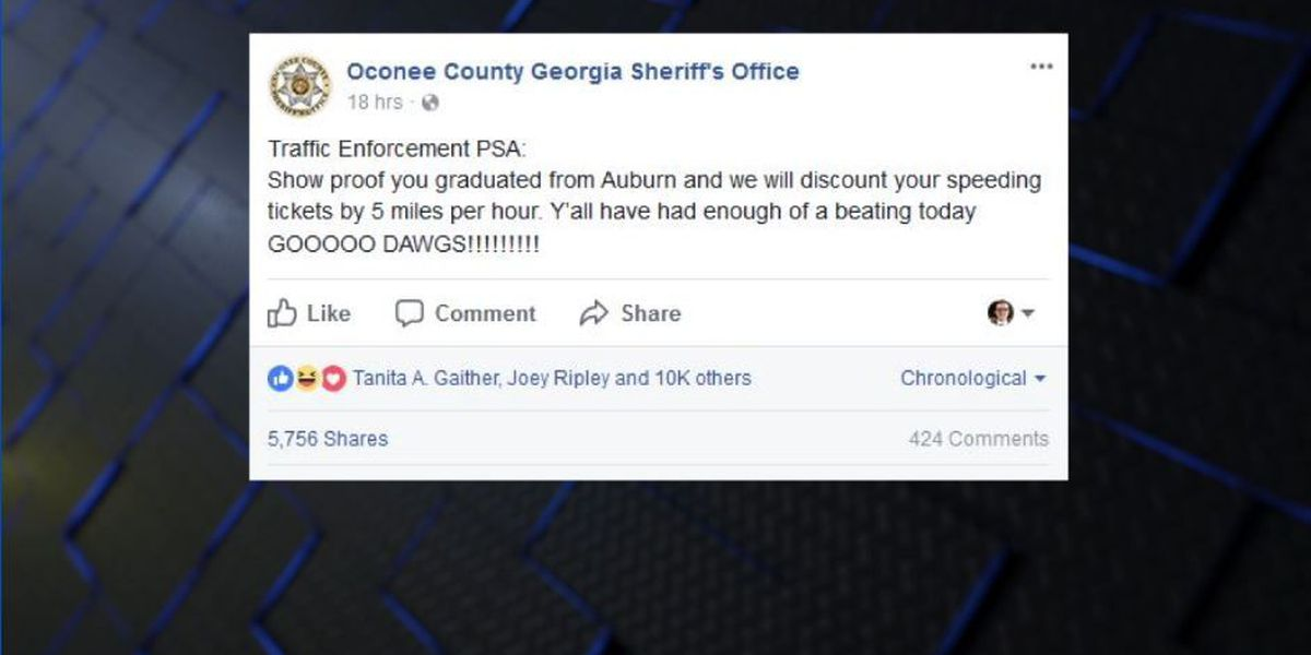 North GA sheriff's office trolls Auburn fans on Facebook after UGA win
