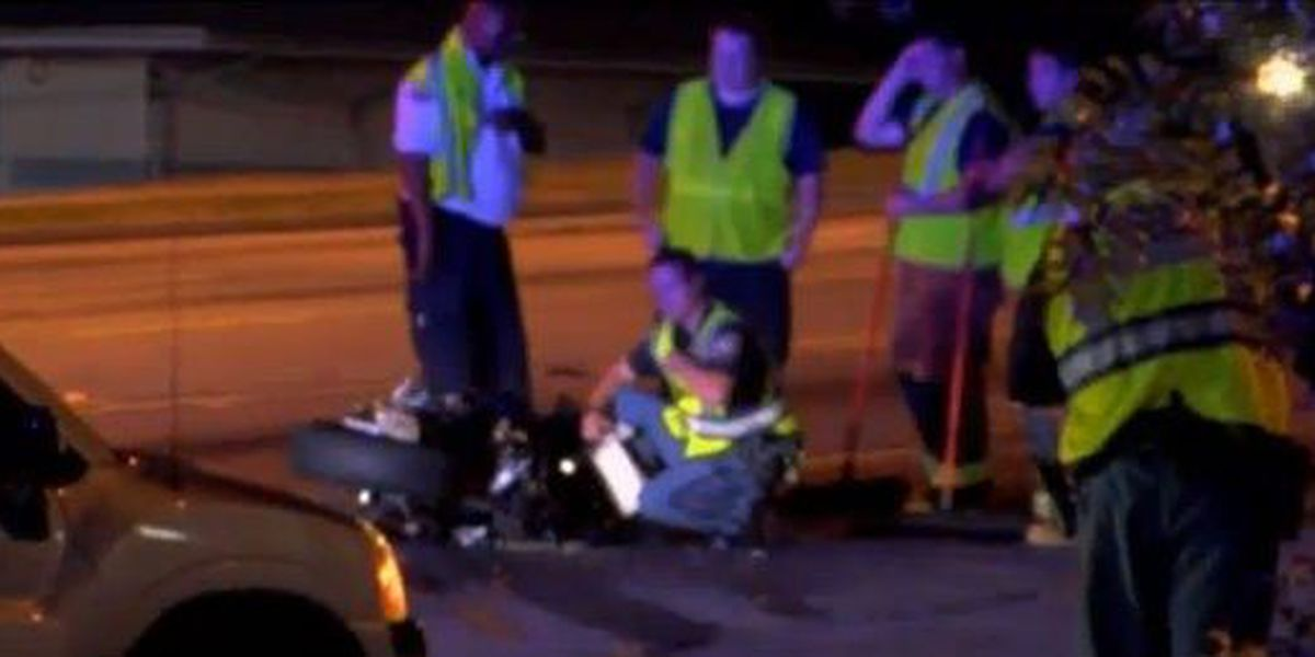 1 taken to hospital following motorcycle and car accident