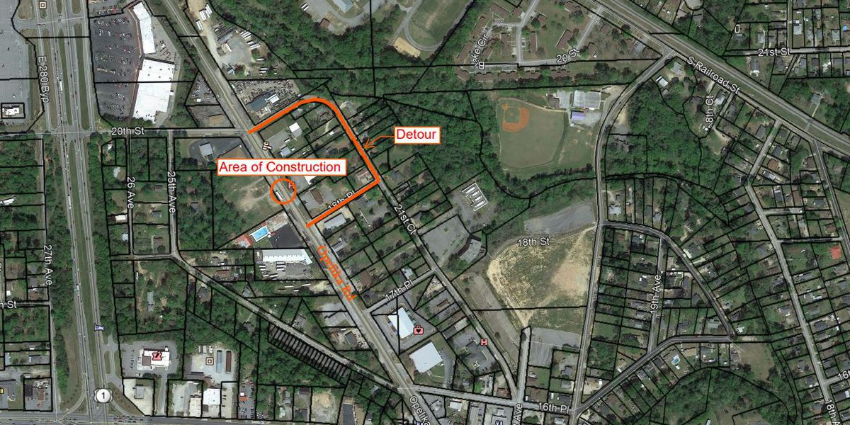 Opelika Rd. to close between 20th St. and 18th Place for construction