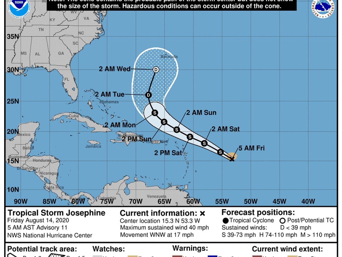 Tropical Storm Josephine closer to land, Kyle moving away