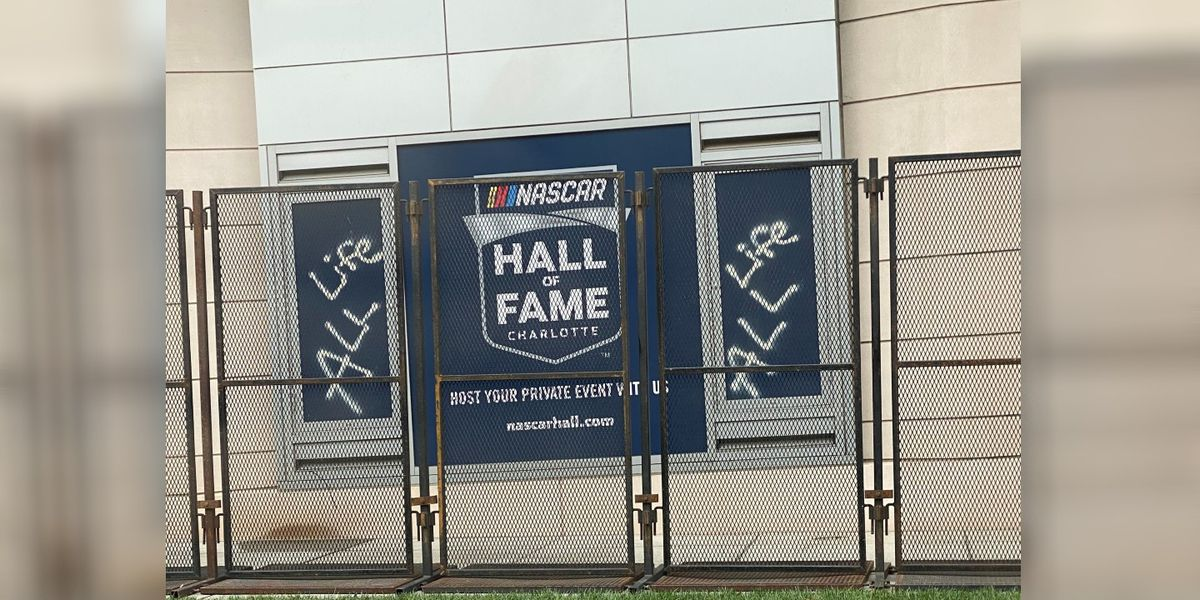 """Police investigating after vandal spray paints """"ALM,"""" """"All Life"""" at NASCAR Hall of Fame"""