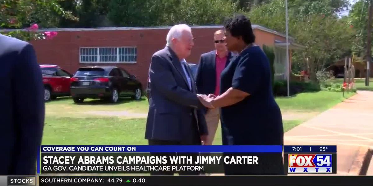 Former President Jimmy Carter campaigns with Stacey Abrams in Plains, GA
