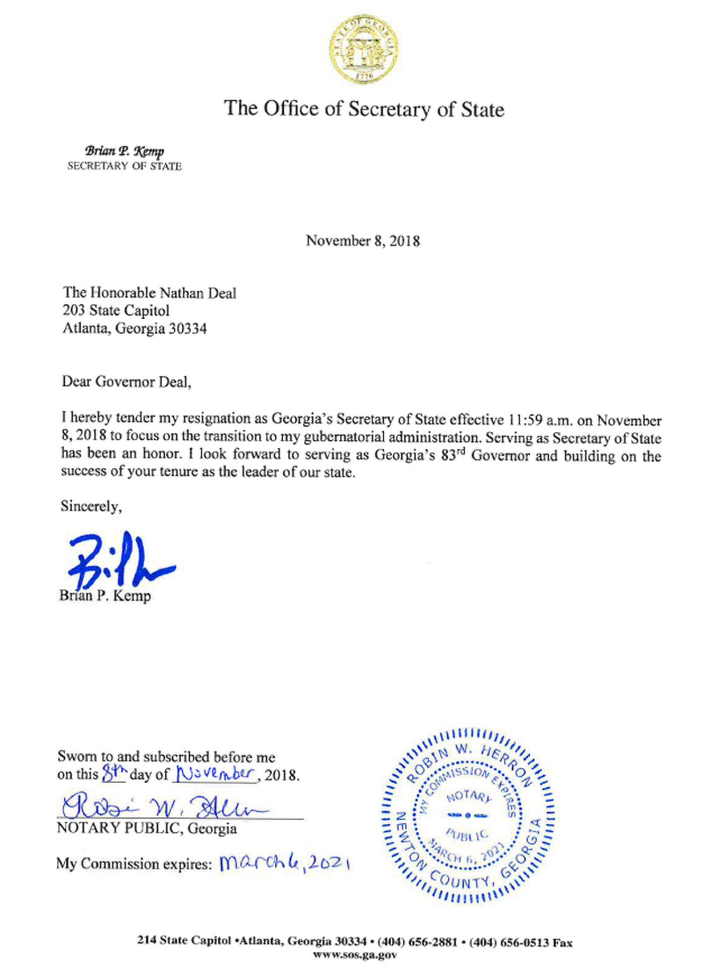 Kemp resigning as Secretary of State