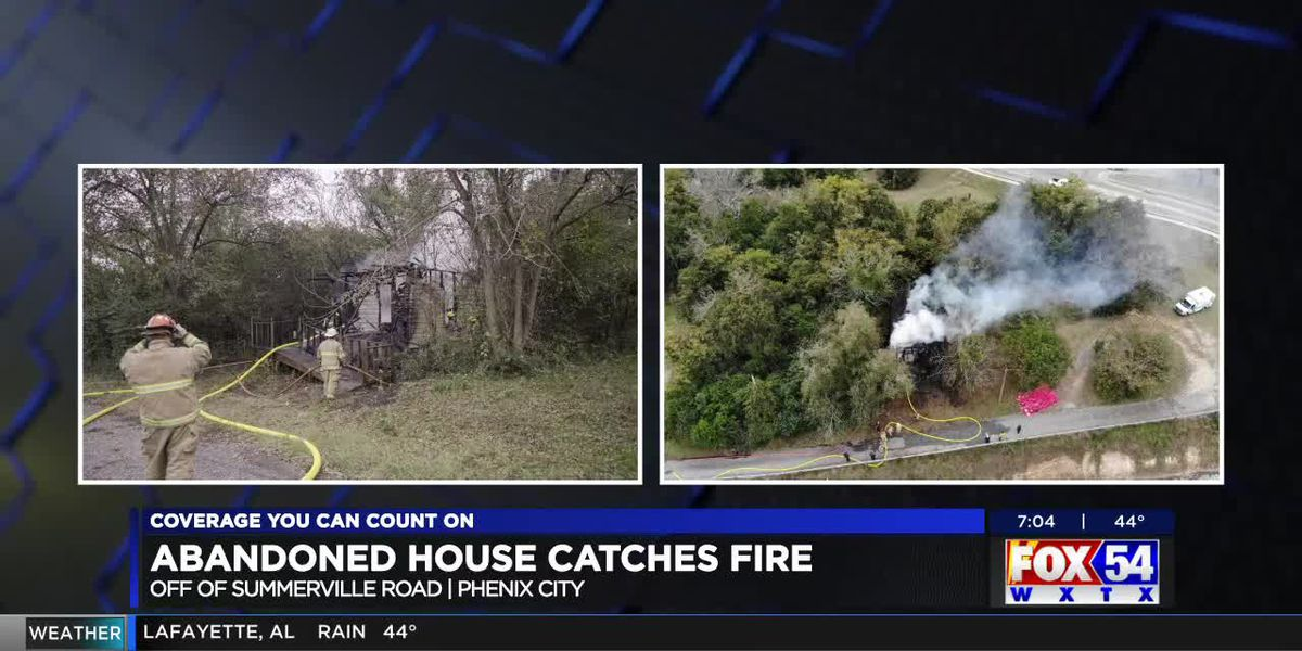Abandoned house catches fire off Summerville Rd. in Phenix City